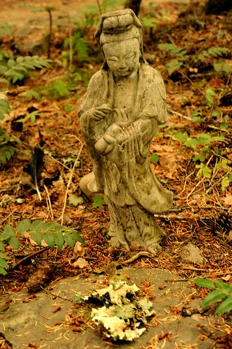 Earth nectar Bodhisattva statue, lichen offering, Breitenbush Hot Springs, Breitenbush, Marion County, Oregon, USA by Wonderlane