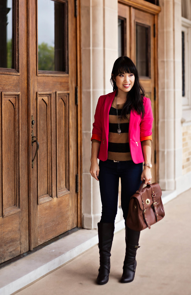 zara hot pink pique blazer, urban outfitters bdg grazer cigarette jeans, h&m beige black striped sweater, mk5430, tjmaxx vieta lucille buckle satchel, forever 21 owl necklace, charlotte russe brown strappy knee-high boots