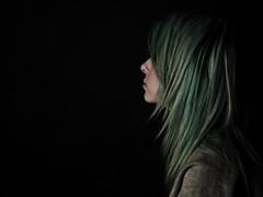 (miriamhope) Tags: blue portrait white black green girl face female hair studio eyes key low young teen lowkey teenage