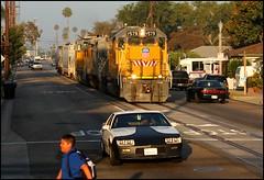 Early Morning Traffic in Anaheim (greenthumb_38) Tags: railroad morning train earlymorning trains unionpacific locomotive anaheim sled gp switcher wye emd gp151 canon40d westanaheim jeffreybass loa32 costamesajob remotesled anheimwye loa25 loa32r