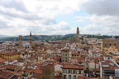 View towards the Piazza della Signoria from the Belltower (rishao262) Tags: travel italy geometric architecture florence cathedral architecturaldetail tuscany duomo renaissance studyabroad brunelleschi giotto