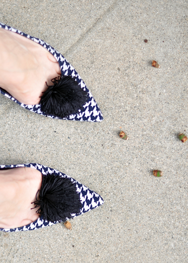 Houndstooth shoes - heels - tassel poufs