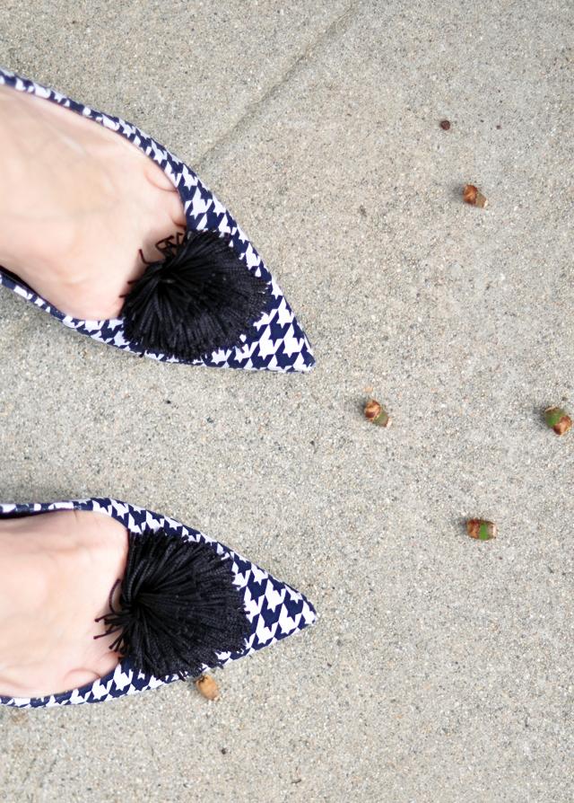 Houndstooth shoes - heels - tassel poufs