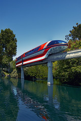 Monorail Monday (janoimagine) Tags: california trees sky reflection water canon concrete disneyland wed bluesky disney transportation amusementpark monorail anaheim canondslr canoneos themepark waltdisney wdi imagineering imagineer monorailred thehappiestplaceonearth canon50d bobgurr