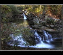 Almost Paradise (FiddleFlix) Tags: autumn mountains green water leaves forest canon nc rocks northcarolina falls waterfalls hdr 3xp photomatix haywoodcounty skinnydipfalls hdraddicted paulmalcolm