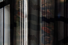 321/365 (Tom Wachtel) Tags: wood shadow white reflection window glass floral vertical wooden pattern curtain stripe line fabric material 365 cloth parallel vanagram