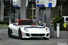 Ferrari 599 GTO (Dylan King Photography) Tags: new november blue roof red white canada black up station yellow vancouver race nikon fuji bc view britishcolumbia side wheels stripe mirrors ferrari headlights front grill gas hood brake gto decal rims brand chevron bianco 34 filling 22nd 599 calipers 2011 d90 ferrarimaseratiofvancouver fmov