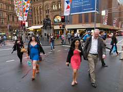 Cyan Magenta (sinoperture) Tags: street blue red rain crossing sydney cyan magenta australia odd intersection cbd qvb ricoh grd3