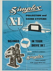 Simplex X-L Projection and Sound Systems | Belongs In Your Drive-In (Carbon Arc) Tags: classic film 35mm vintage movie advertising theater theatre projector ad drivein advertisement projection advert trade projectionist simplex ozoner