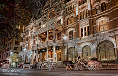 Driskill Hotel (Ellen Yeates) Tags: christmas street light horse holiday night austin wagon hotel ellen texas riding hdr topaz adjust yeates driskillhotel