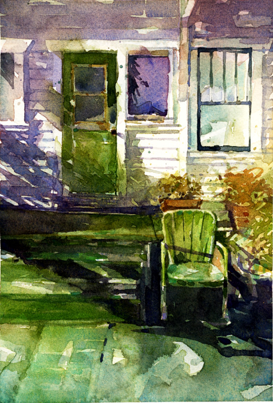Green art home watercolor painting chair pattern shadows watercolour