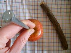 Espete o parafuso na maçã