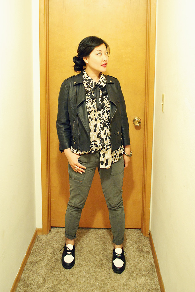 Outfit - Animal Print Blouse - Ribbon Bow - Cargo Skinny Pants - Moto Jacket - Saddle Shoes - Twisted Side Bun