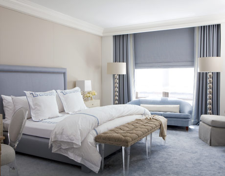 Calm gray + blue bedroom: 'Swiss Coffee' by Benjamin Moore