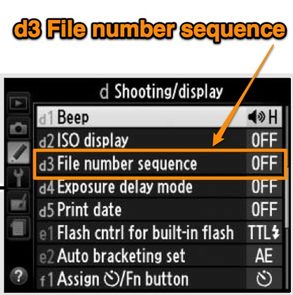 Nikon D5100 custom setting option -- d3 File number sequence