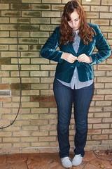Dandy outfit - gap jeans, vintage teal velvet blazer, striped canvas shoes