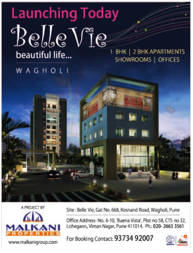 Belle Vie, 1 BHK & 2 BHK Flats, Showrooms & Offices, at 668 Kesnand Road, Wagholi, Pune