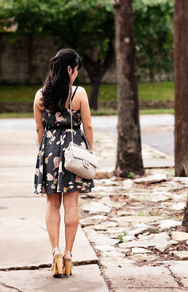 urban outfitters kimchi blue nora dress, yesstyle chanel beige quilted purse, steve madden temppest nude sandals, mk5430, amber necklace gap corsage peach cardigan