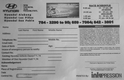 1st Hyundai Alabang Bike Trail Invitational Registration Form