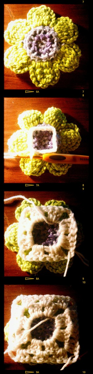 crocheting a granny square behind a flower
