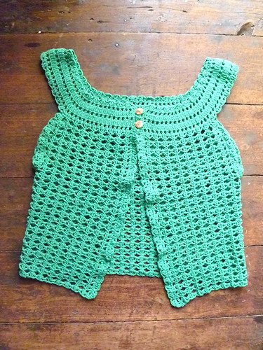 Crocheted sleeveless cardigan...