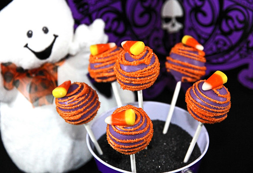 Halloween Ghost's Candy Corn Cake Pops