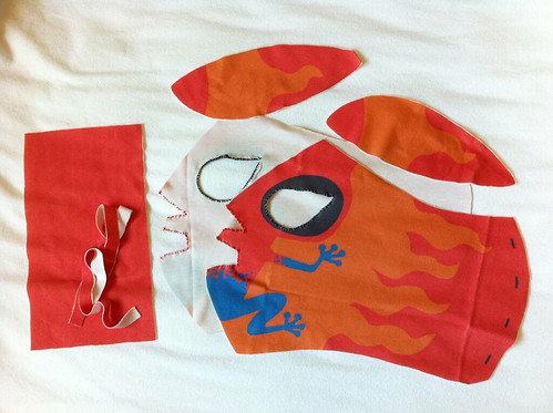 crafting with mongie wrestling mask for spoonflower