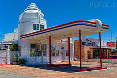 Old Art Deco Filling Station (Jim Purcell) Tags: bridge arizona usa sunlight building retail digital photoshop spring commerce afternoon pentax zoom tucson transport sunny az gasstation business photograph transportation handheld artdeco capitalism dslr enterprise trade hdr highdynamicrange springtime servicestation topaz lightroom petrolstation edifice edifices fillingstation commercialbuilding mercantilism photomechanic tonemapping photomatrix pimacounty pentaxk20d businessphotography commercialphotograph smcpentaxda1650mm28edalifsdm