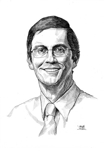 Portrait in pen and brush of Dr David Connah