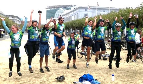 riders celebrate at the finish (courtesy of Amanda Eaken)