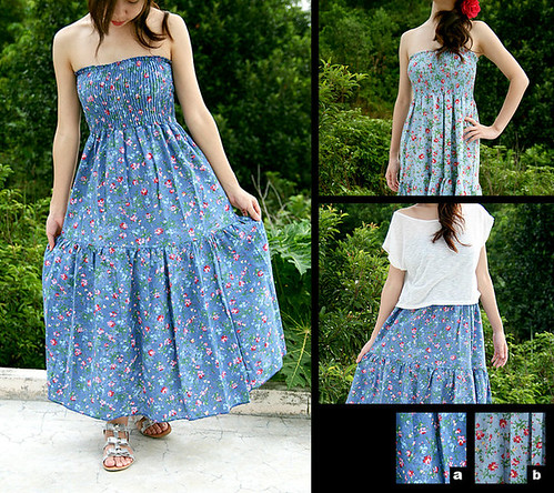 20_Floral Cotton Denim Maxi Dress