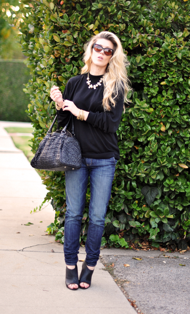 dressed up jeans and a sweater  +  cat eye sunglasses