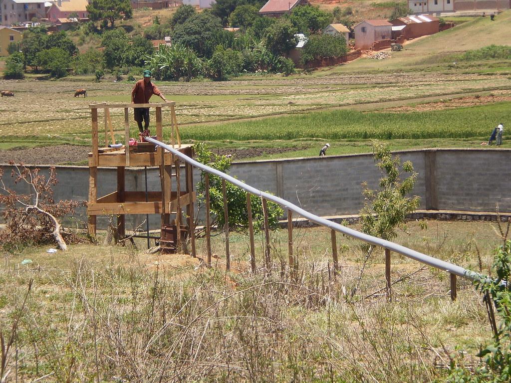 Installation micro-irrigation en fonctionnement