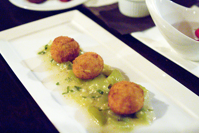 Chicken Croquettes with Tomatilo Salsa