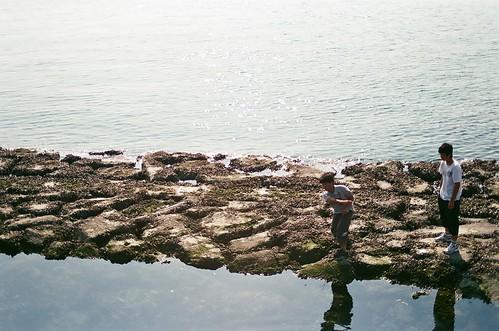 skimming stones.