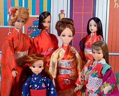 Kimono Party (Fussywickett) Tags: japan vintage japanese barbie skipper bubble 1967 kimono takara orie licca momoko hairfair petworks kayama reprom