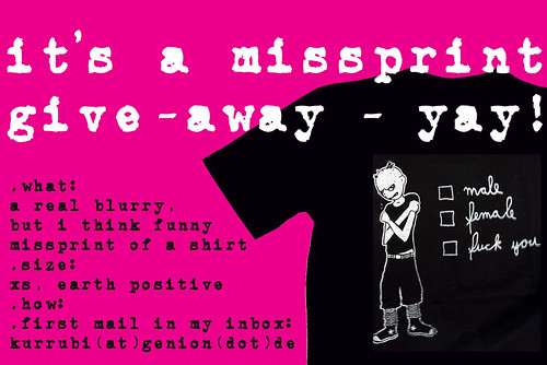 .free missprint give-away shirt.