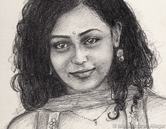 Nithya Menon (Light and Life -Murali ) Tags: girl smile pencil sketch nithya menon 4b nithyamenon smilinggirlcropsc