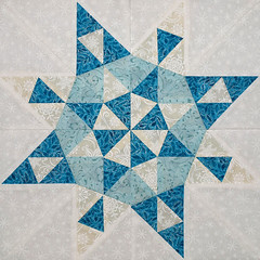 Stars of the sea block 1 detail (emma_louise) Tags: original winter white art magazine snowflakes star aqua quilt monochromatic block fiberart patchwork fibreart foundationpieced bedquilt sampaguitaquilts