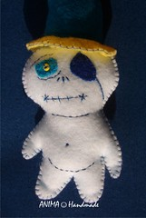 """Ghost with hat""#3 (animahandmade) Tags: new original strange beads keychain soft needlework handmade unique ooak ghost felt collectible whimsical luckycharm softsculpture"