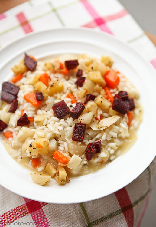 veggie risotto (beetroot, parsnip, carrot, jerusalem artichokes)