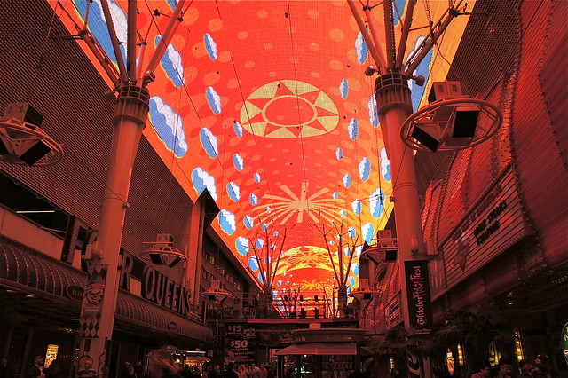 Ceiling lights on Fremont street