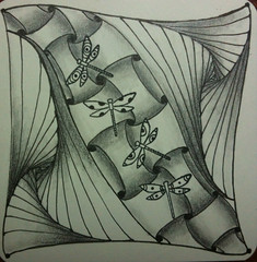 Mini Dragonfly Tangle (craft-tea) Tags: tile dragonfly zentangle
