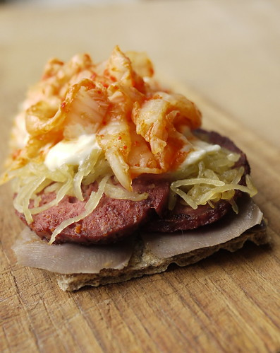 Tryout for the holiday smörgåsbord.  Pickled tongue, liver sausage, smoked squash, rosemary mayo, kimchee