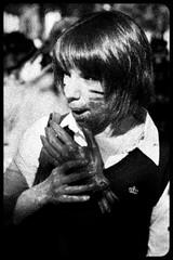 Zombie Walk (056) - 23Oct11, Paris (France) (]) Tags: portrait blackandwhite bw woman paris girl dead death scary blood hand noiretblanc zombie walk mort femme fear main grain makeup nb parade spooky eat panic gore horror terror manger devour sang maquillage marche horreur peur livingdead terreur panique zombiewalk effrayant mortvivant dvorer
