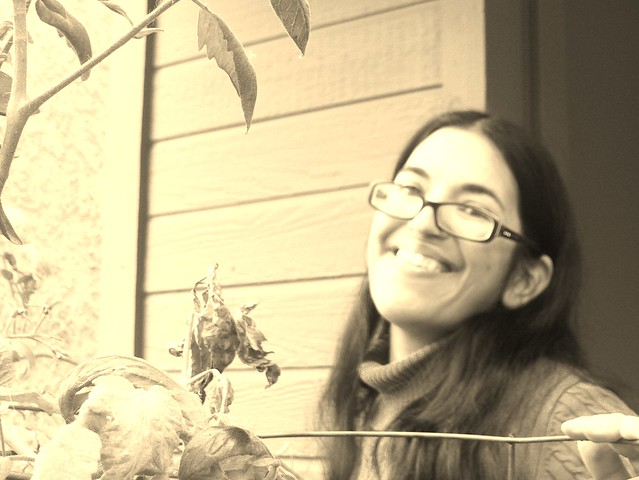Sepia Self-Portrait With Tomatoes