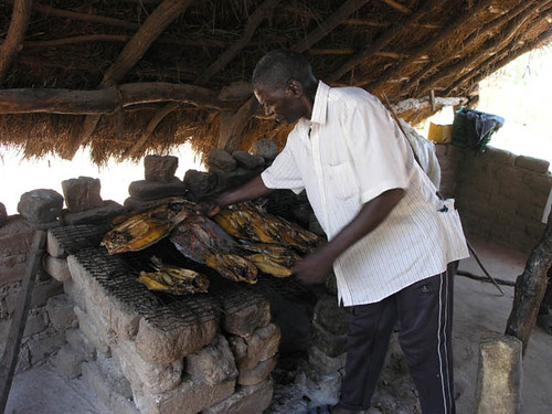 Fish grilling, Zambia. Photo by Jamie Oliver, 2007