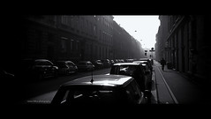 Monday morning (elkarrde) Tags: monday morning mondaymorning city street zagreb fog foggy silhouette light htc desire htcdesire android phonecamera blackwhite twop noiretblanc digital mediumdigital