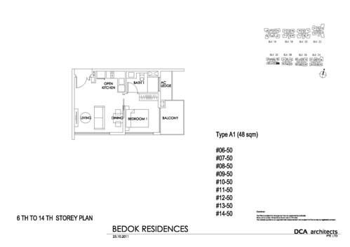 Bedok Residence 1BR Floorplan