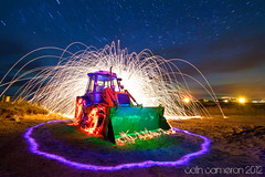 Flamin Digger revisited (Colin Cameron ~ Photography ~) Tags: longexposure nightphotography lightpainting green beach spectacular stars scotland amazing rainbow colours bright awesome glowing ribbon lighttrails glowstick tamron explode northernlights isleoflewis hebrides startrails lightstreams v24 lenser auroraborialis canon7d lightjunkies tamron1024mm lenserv24